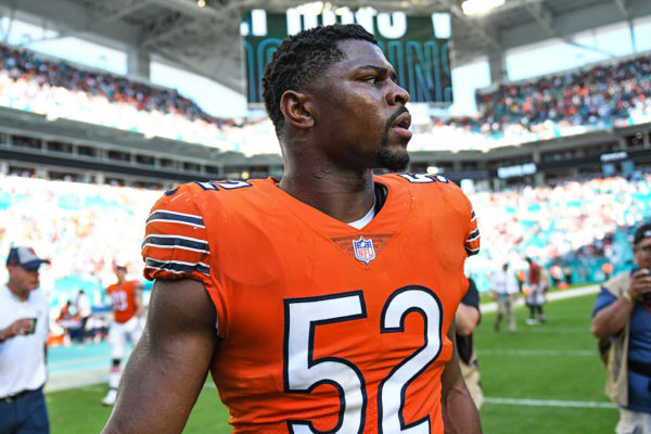 Chicago Bears outside linebacker Khalil Mack (52) after the game
