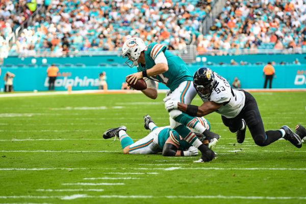 Jacksonville Jaguars defensive end Calais Campbell (93) sacks Miami Dolphins quarterback Ryan Tannehill (17)