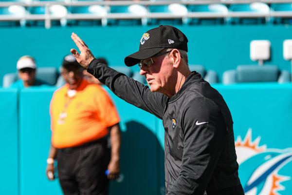 Tom Coughlin acknowledges the Jaguar fans