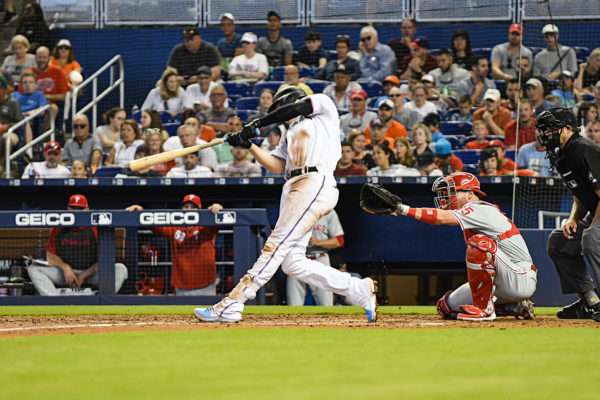Miami Marlins third baseman Brian Anderson (15) hits a homerun