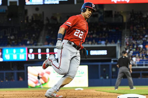 Washington Nationals left fielder Juan Soto #22 rounding 3rd base