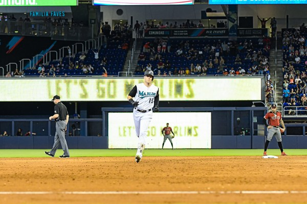 Miami Marlins third baseman Brian Anderson #15 - Arizona Diamondbacks vs. Miami Marlins at Marlins Park