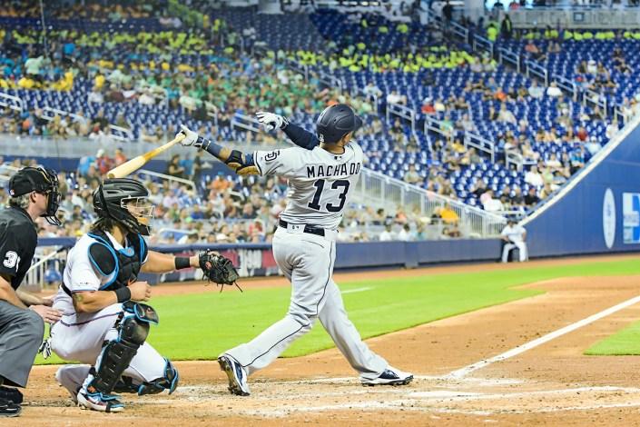 San Diego Padres third baseman Manny Machado #13 - San Diego Padres vs. Miami Marlins at Marlins Park