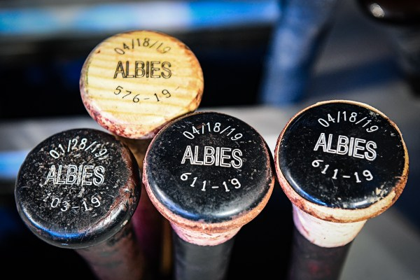 Atlanta Braves second baseman Ozzie Albies #1 bats