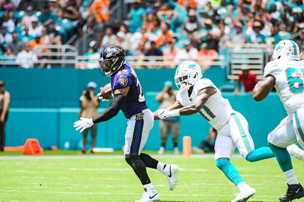 Baltimore Ravens free safety Earl Thomas (29) runs back an interception | Baltimore Ravens vs. Miami Dolphins | September 8, 2019 | Hard Rock Stadium