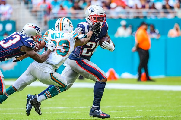 New England Patriots running back James White #28 | New England Patriots vs. Miami Dolphins | September 15, 2019 | Hard Rock Stadium