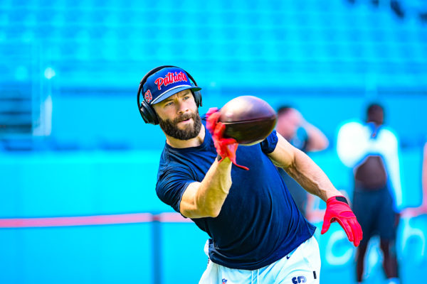 New England Patriots wide receiver Julian Edelman #11 works on 1 handed catches | New England Patriots vs. Miami Dolphins | September 15, 2019 | Hard Rock Stadium