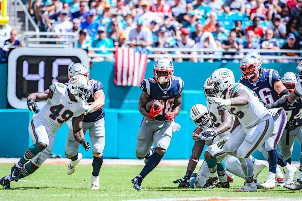 New England Patriots running back Sony Michel #26 | New England Patriots vs. Miami Dolphins | September 15, 2019 | Hard Rock Stadium