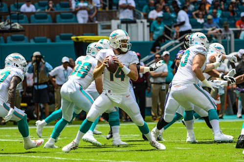 Miami Dolphins quarterback Ryan Fitzpatrick (14) | Baltimore Ravens vs. Miami Dolphins | September 8, 2019 | Hard Rock Stadium