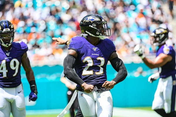 Baltimore Ravens strong safety Tony Jefferson (23) flexes after a tackle | Baltimore Ravens vs. Miami Dolphins | September 8, 2019 | Hard Rock Stadium