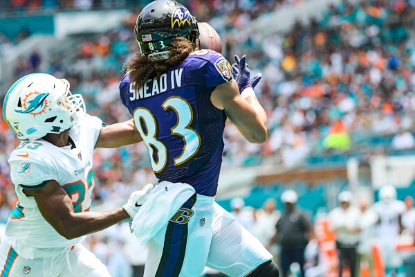 Baltimore Ravens wide receiver Willie Snead (83) hauls in a touchdown pass | Baltimore Ravens vs. Miami Dolphins | September 8, 2019 | Hard Rock Stadium