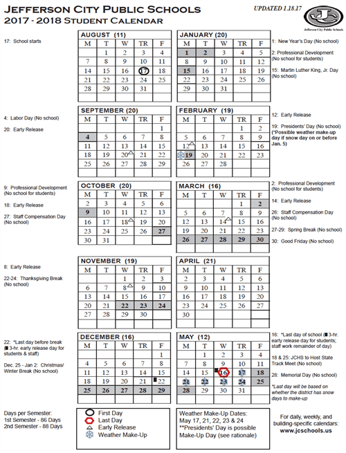 Yearly District Calendar (Printable) / 2017-18 Student