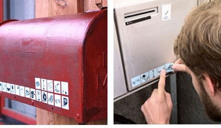 En Suisse, des stickers sur la boite aux lettres indiquent les objets que l'on veut bien prêter