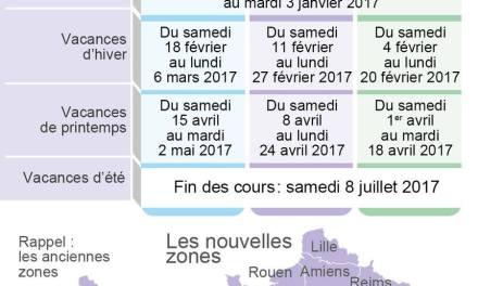 Calendrier scolaire France 2016-2017 à imprimer