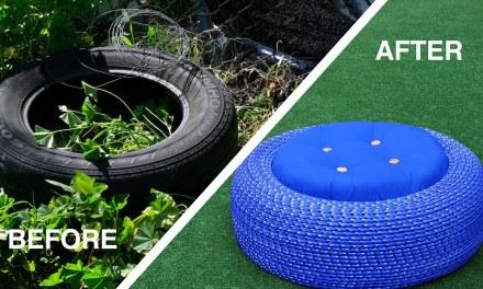 Transformez un vieux pneu en siège de stockage sécurisé!
