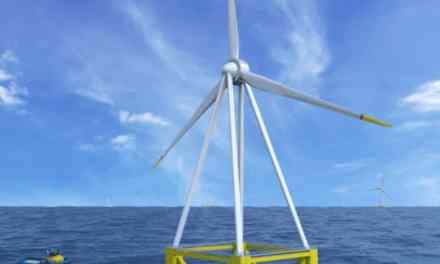 L'éolienne flottante EOLINK (échelle 1/10e) installée en rade de Brest