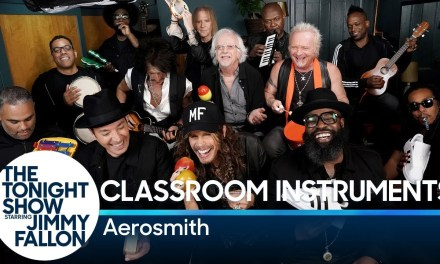 Aerosmith, Jimmy Fallon, et The Roots jouent «Walk This Way» avec des instruments d'enfants