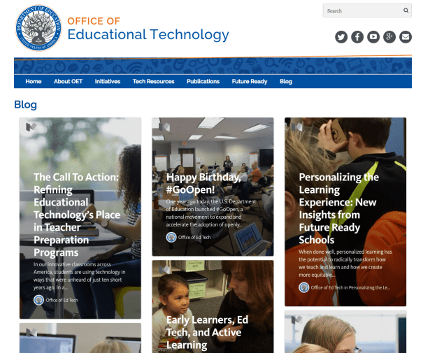 Screenshot of Dept. of Ed's Office of Educational Technology Website.