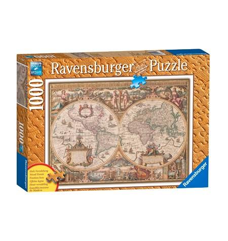 Puzzle 1000 Mapamundi Antiguo – Madera – Ravensburger