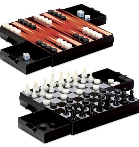 Conjunto Ajedrez-Damas-Backgammon Magnético de Viaje