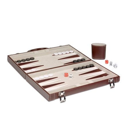 Backgammon Mediano Fieltro Marrón/Blanco