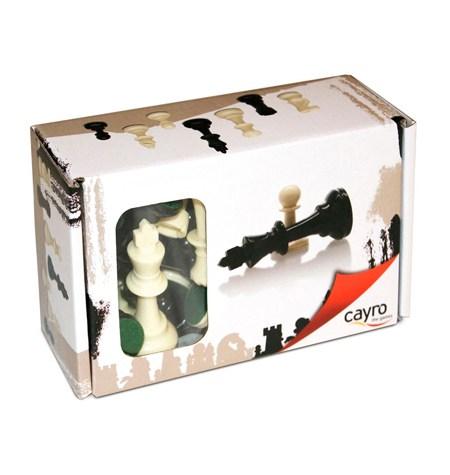 Fichas Ajedrez Plástico B/N St.4 – Caja de Cartón