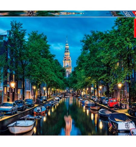 Puzzle 1500 Oscurece en el Canal, Ámsterdam