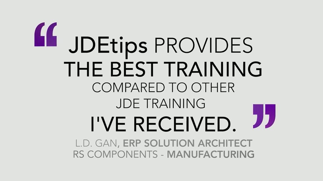 Training Testimonials for JDEtips Training