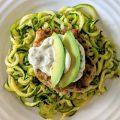 Chicken Burgers with Cilantro Aioli & Zoodles