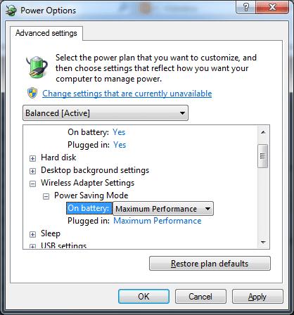 Windows 7 ethernet power/performance options
