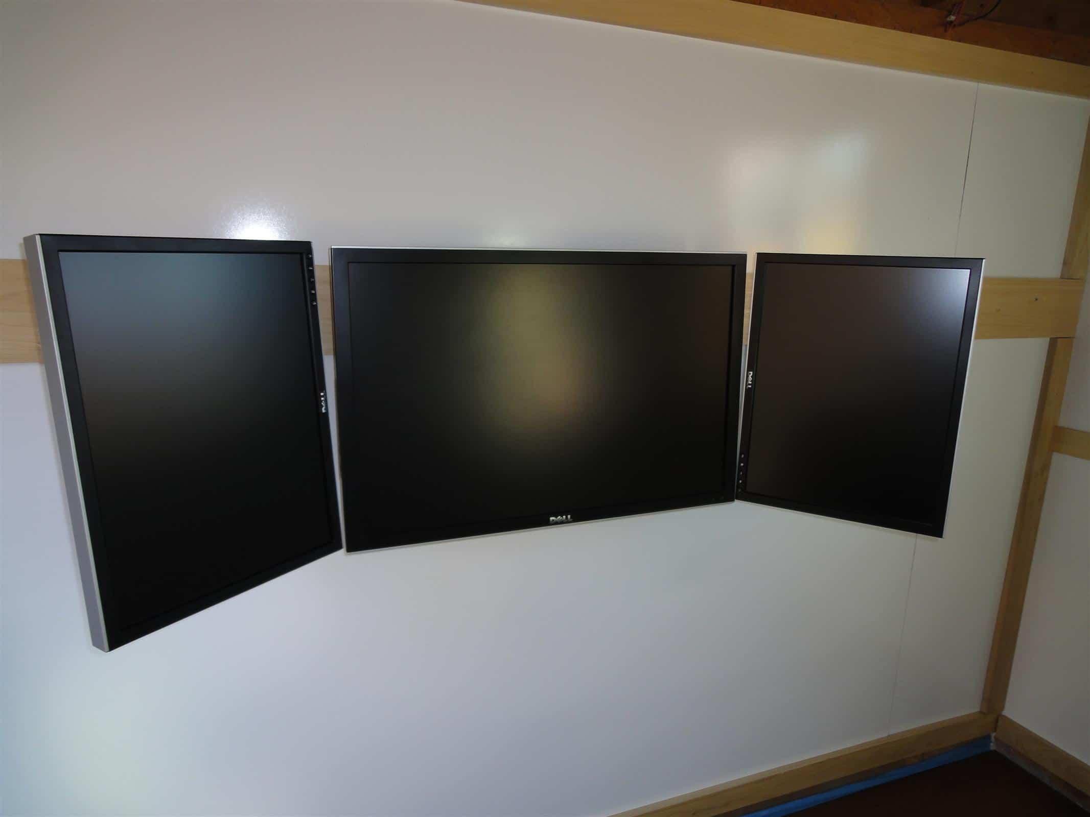 Triple monitors mounted