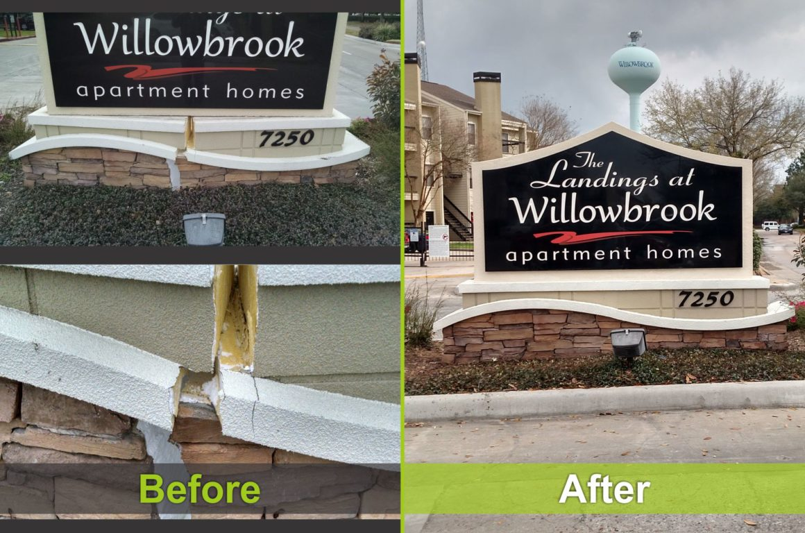 two pictures of one sign, before repair and after it