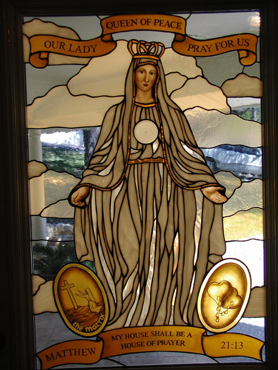 Our Lady Queen of Peace Entryway stained glass