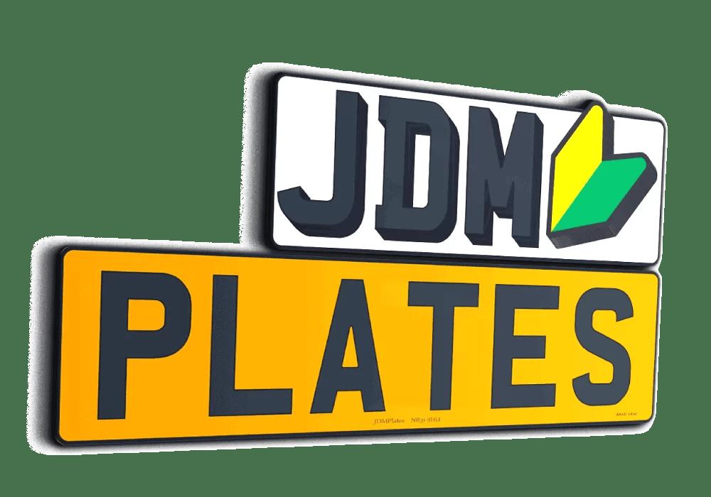 The logo for JDM Plates website