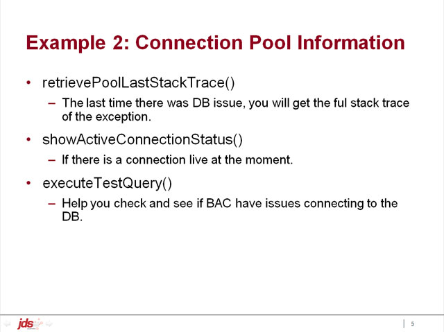 Example 2: Connection Pool Information