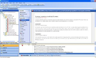 Example of WebInspect Session Vulnerability View showing information regarding the Gumblar JavaScript payload