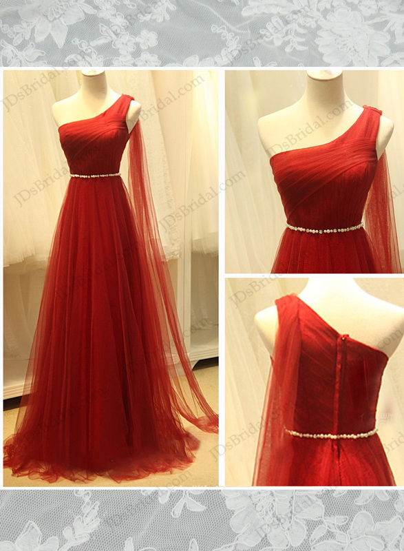 PD16010 Red color goddess one shoulder airy tulle long
