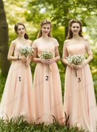 PD16035 blush colored long chiffon bridesmaid dress prom ...