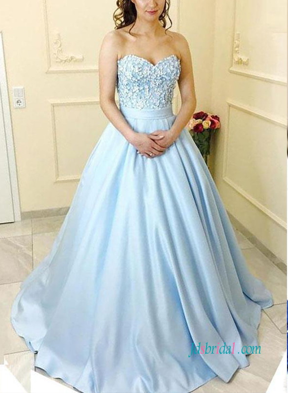 PD18112 Formal light baby blue ball gown prom dress