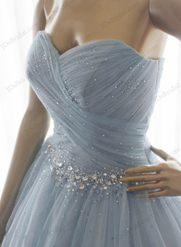 LJ131 Grey Blue Color Crystals Princess Ballgown Wedding