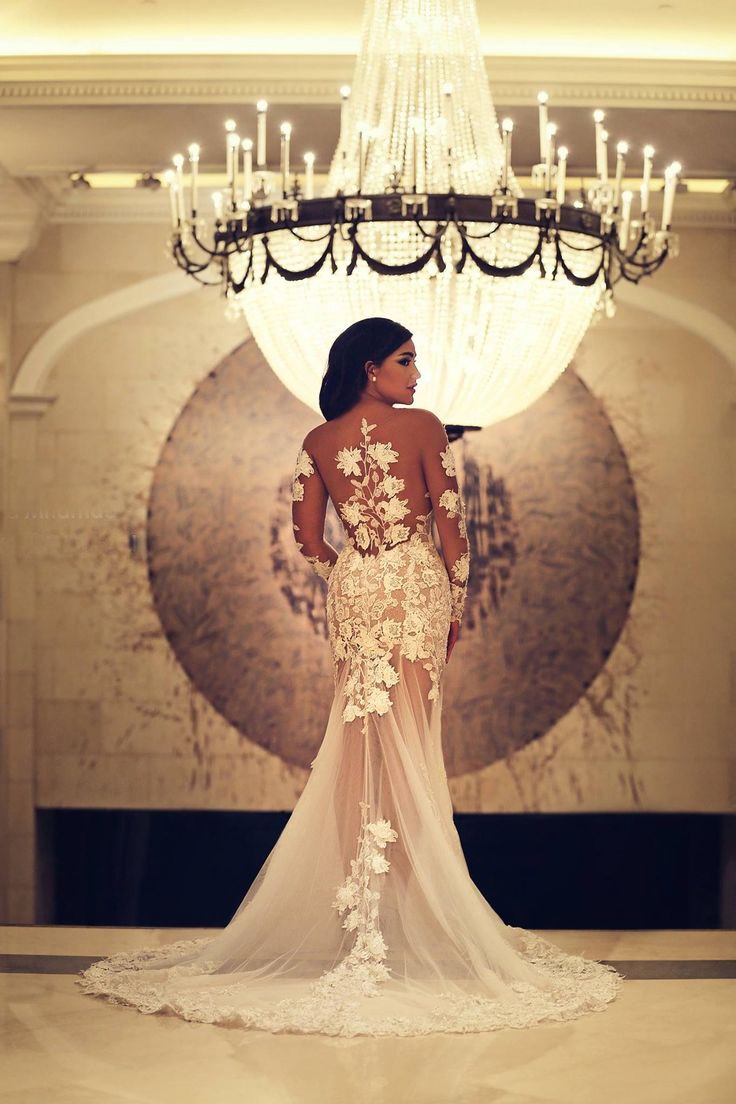 JOL238 2015 new sheer tulle with lace long sleeved flare mermaid prom wedding dress
