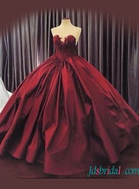 Red/Burgundy Colored wedding dresses,Cheap Plus size ball ...