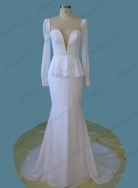 H1256 Vintage style plunging peplum mermaid wedding dress