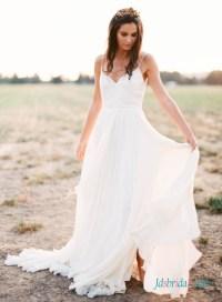 H1403 Romance simple boho beach wedding dress with thin ...