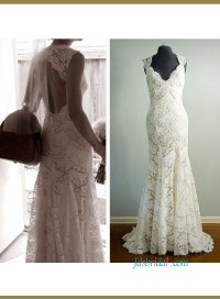 H1432 Classy inspired designer lace keyhole sheath wedding
