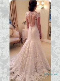 H1596 Elegant lace sheer open back wedding dress with cap ...
