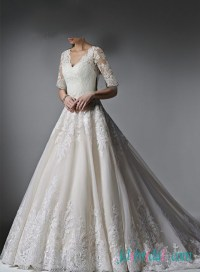 H1614 Classy princess lace wedding dress with half length