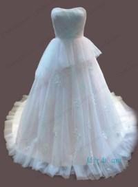 H1095 Feminine pink and ivory colored princess wedding dress