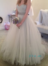 H1113 Grey ivory blend colored tulle cinderella wedding