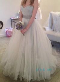 H1113 Grey ivory blend colored tulle cinderella wedding ...